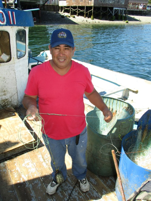 "Fisherman of Chile showing the ""espineles"" . Photo: Vero Cortés"